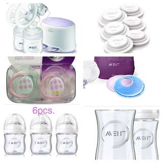 Avent Lot (breast pump, glass bottles,pacifier, thermal pad, lid, nipples)