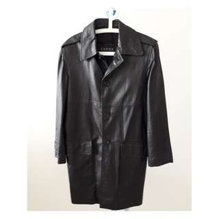 REDUCED PRICE. GUCCI Black Leather long coat. Authentic. Size M