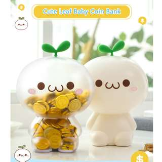 Cute Leaf Baby Coin Bank Piggy Bank Birthday Gift and Toys for Kids & Children