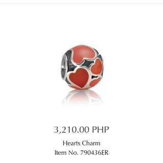Original pandora red heart enamel charm