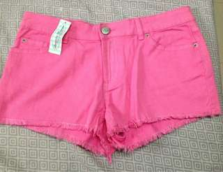 Denim jeans maong shorts pink