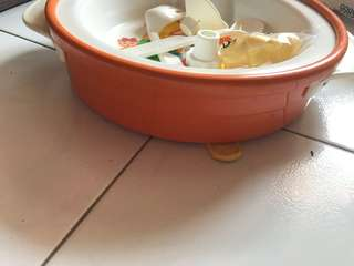 Metal base lightweight warmer bowl with spoon n fork set for babies
