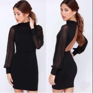 Sexy Backless Black Dress