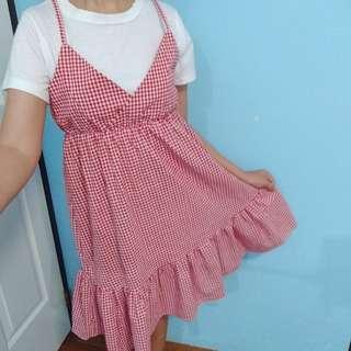Red gingham ruffled midi Dress