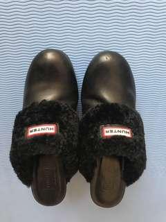 Hunter黑色真皮跟鞋