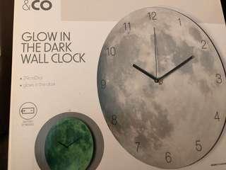 Glow in the dark moon wall clock