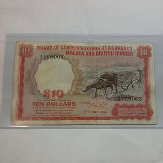Malaya $10 1961 Buffalo Note