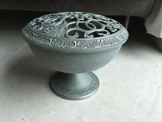 鍍銀青銅手工打造碗連腳和蓋 Silver plated bronze bowl with leg and cover antique handicraft handmade art