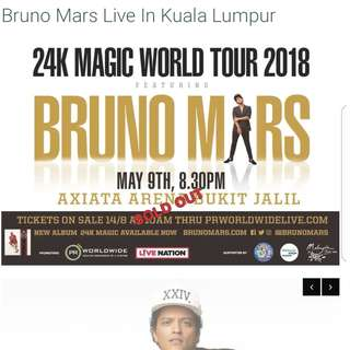Bruno mars live in KL 2 pairs of ticket available