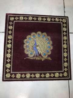 Decorative velvet peacock