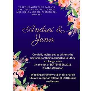 Dark blue invitation #rustic #bohemian #wedding #debut #birthday #floral #rustic #white