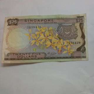 Singapore $25 Orchid Note