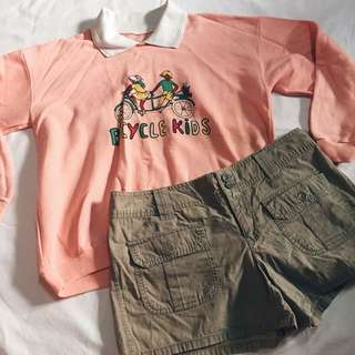 BUNDLE SALE - Pink Sweater + Army Green Shorts