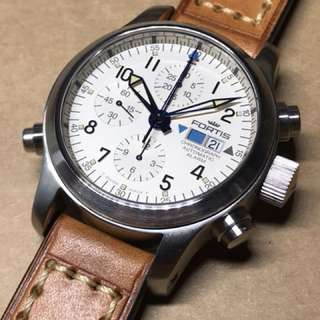 Sold out! Crazy horse brown leather strap on Fortis B42 Chronograph Automatic Alarm