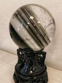 天然巴西線幽靈水晶球