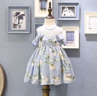 Girl baby spring sweet orchid chiffon strapless dress