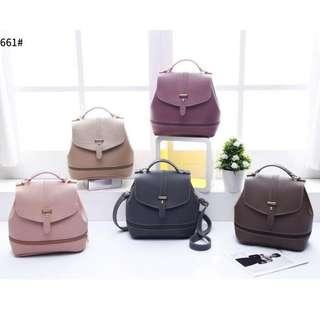 3 ways Korean Fashion Sling Bag 8 x 8 inches Dark Pink