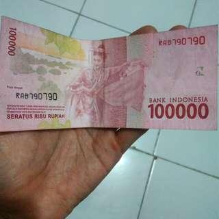 Rp 100.000 nomor seri cantik 790790