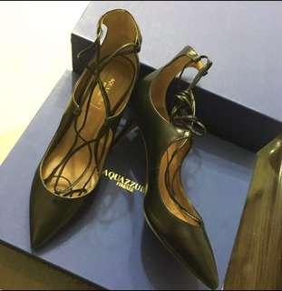 Aquazzura Pump Christy 105 Black Leather Lace-Up Size 37 Pointed Toe Heel