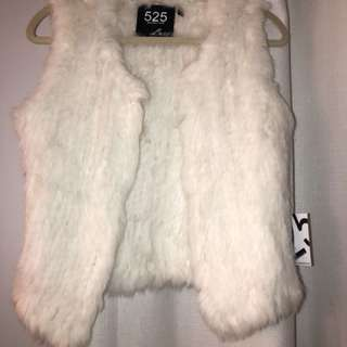 525 rabbit fur vest white and off white size small
