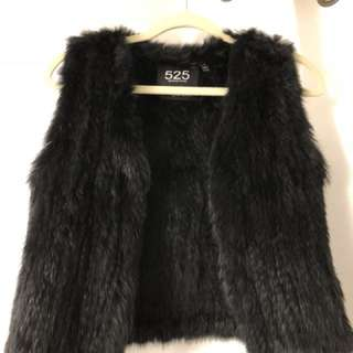 525 rabbit fur vest size small black