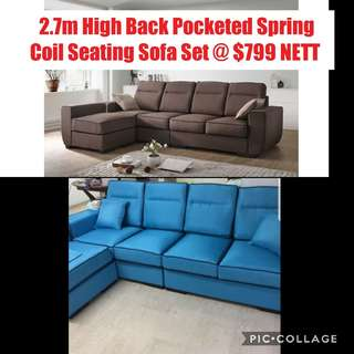 2.7m High Back Pocketed Spring Coil Seating Sofa Set