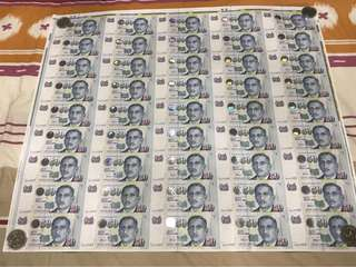 Singapore $50 LHL 50 in 1 Uncut sheet UNC
