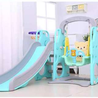 Playground 3in1 slide swing basketball lop slider hello kitty rilakkuma gelongsor buaian mainan