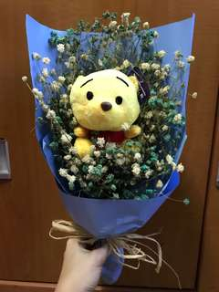 Dried flowers bouquet with Winnie the Pooh bear