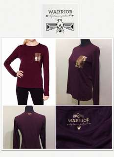 Warrior By Danica Patrick Wine Long Shirt With Sequined Pocket