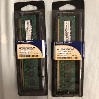 DDR3 1600 8GB U-DIMM x 2 (99% new)