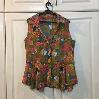 Flamingo Tropical Sleeveless Top