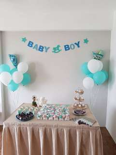 9 inch party/baby shower balloon - Tiffany blue and white