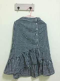 藍格子棉麻魚尾裙