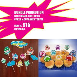 Bundle Promotion 2 sets!  Baby Shark Toothpick Toppers.