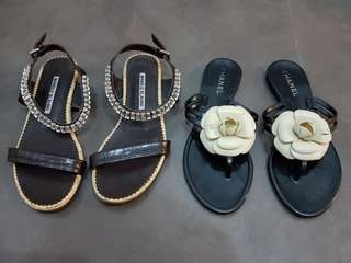 Manolo Blahnik and Chanel Flat Sandals