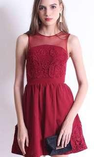 Appliqué Mesh Dress (Neonmello)