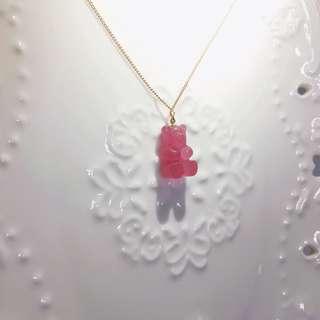 日本頸鏈 小熊軟糖頸鏈 紫紅色小熊軟糖