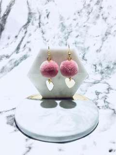 Handmade Pom Pom with heart charm earring