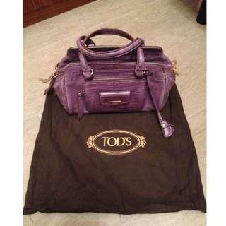 Tod's Second Hand Purple Snake Skin Handbags