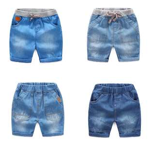 Baby denim shorts elastic waist pants