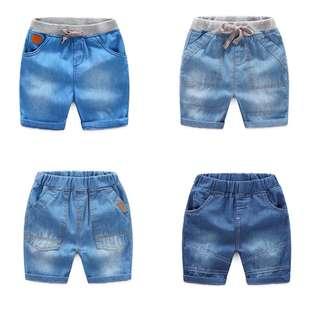 Baby denim shorts elastic waist pants
