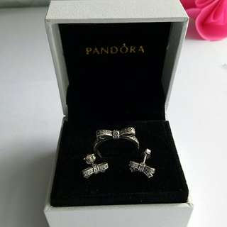 Sparkling bow ring and earrings