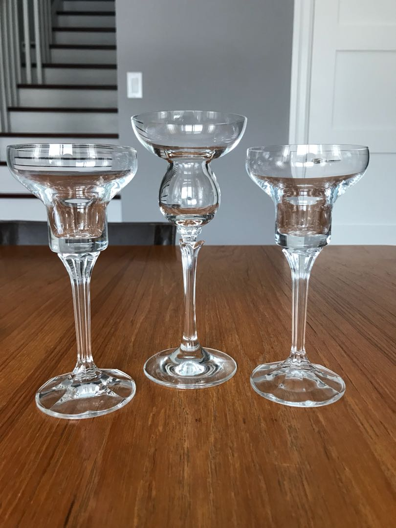 2 glass candlestick holders