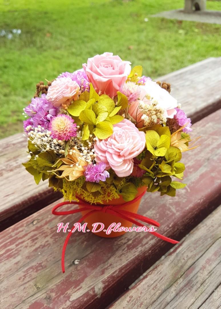 乾燥花 不凋花 花束 玫瑰 花盆 花器 禮物 母親節