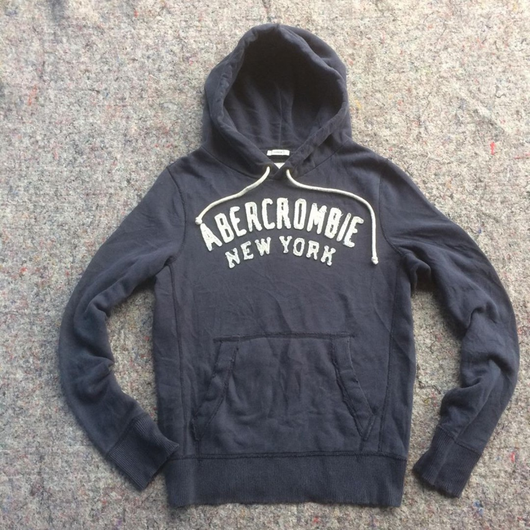ABERCROMBIE AND FITCH NEW YORK 18 NAVY HOODIE RIPPED cb2be3b940