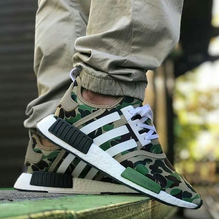 ADIDAS NMD R1 X GREEN CAMO BAPE, Olshop Fashion, Olshop