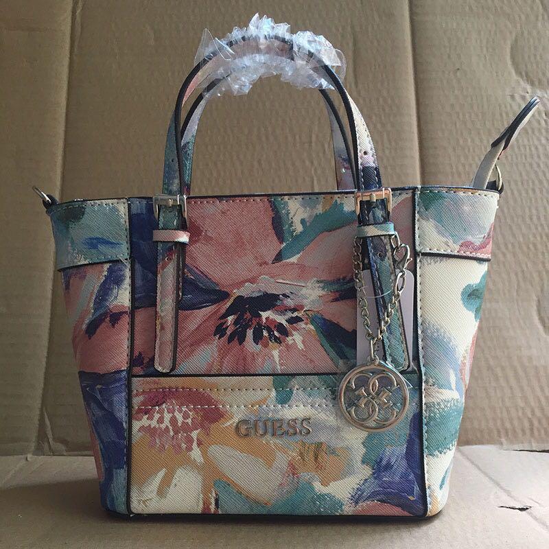 AUTHENTIC GUESS Delaney Floral-print Mini Tote Handbag 25c7a47942b93