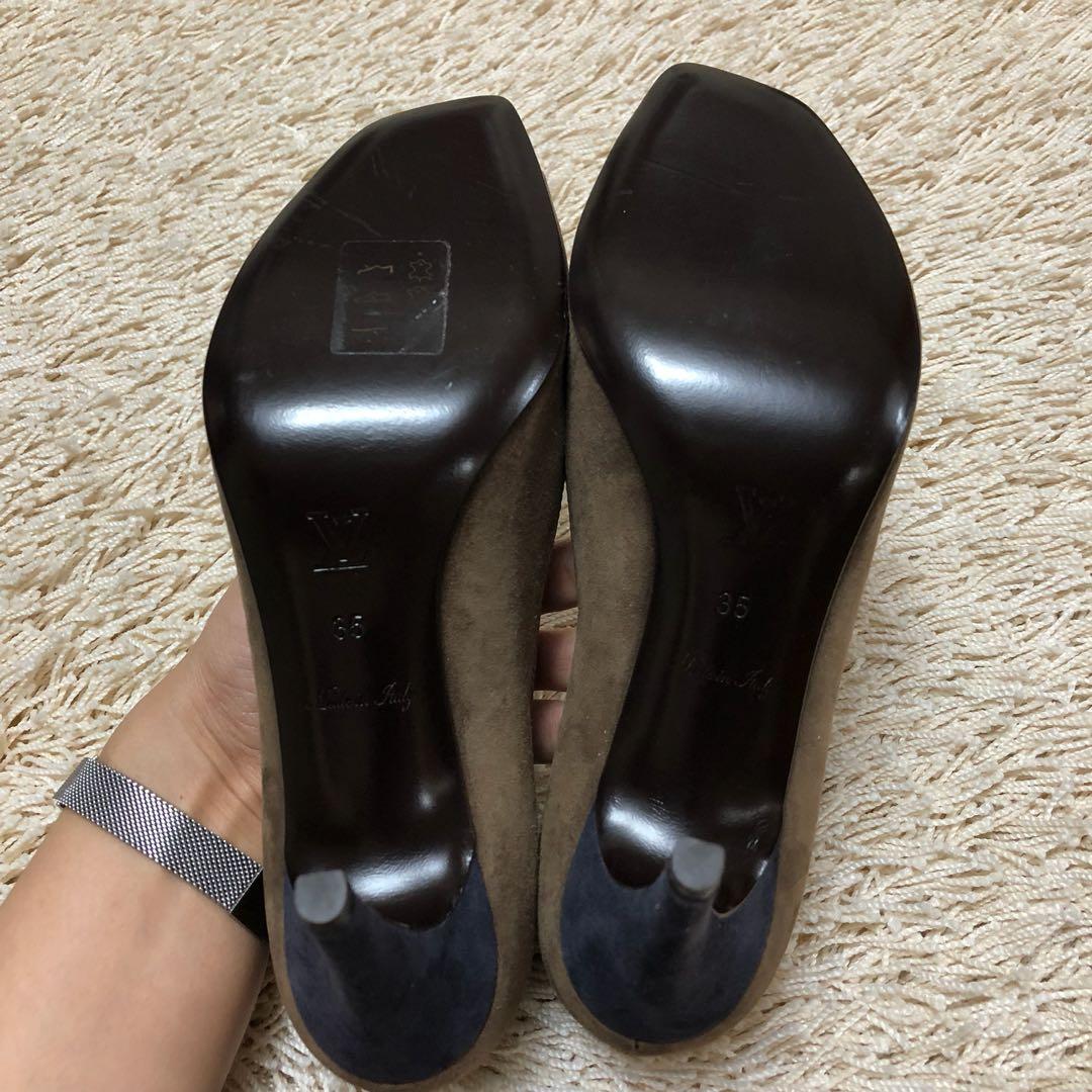 736301cab79 Authentic LOUIS VUITTON Paris Suede Open-toe Pumps Heels Shoes with  Embellishment