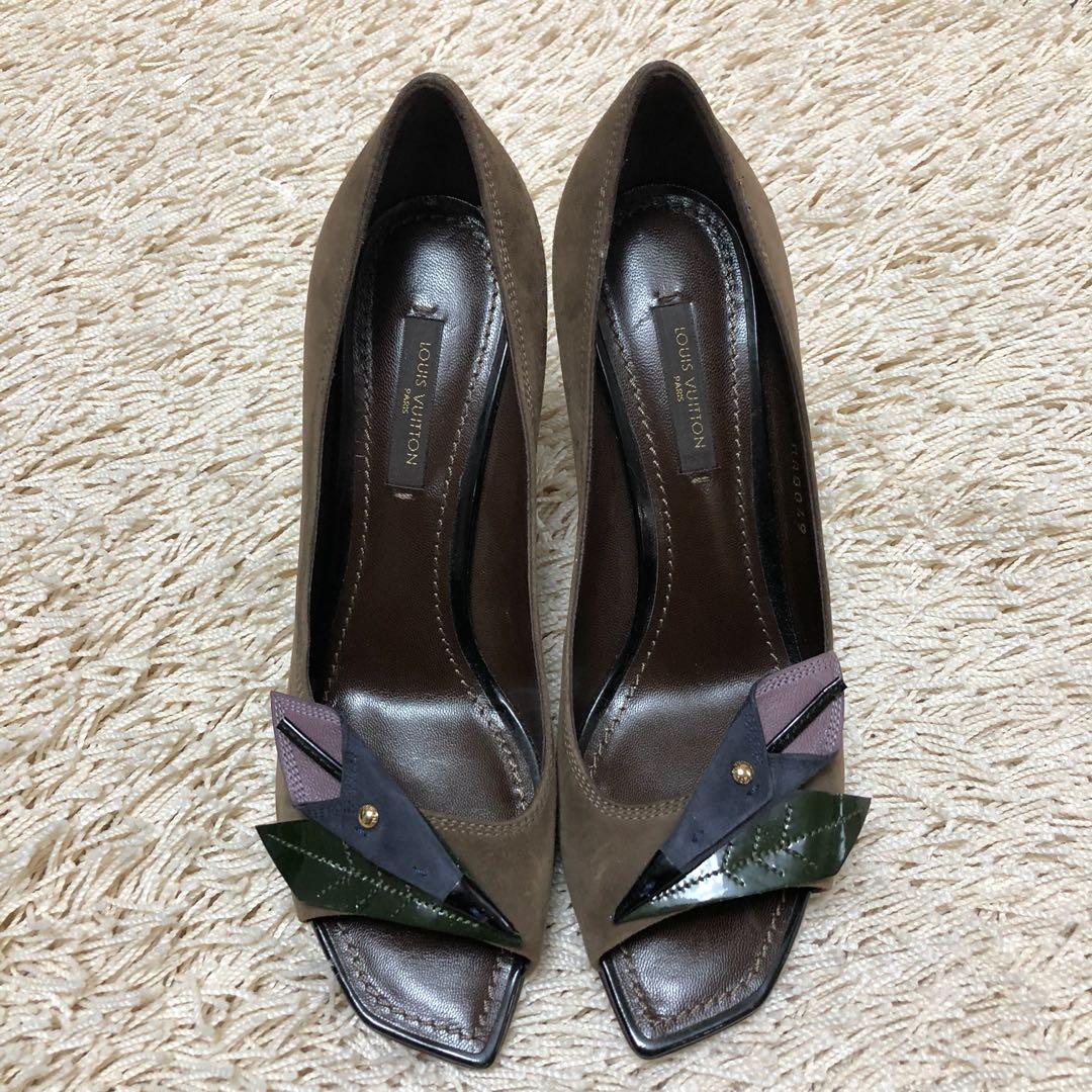 85af102616f Authentic LOUIS VUITTON Paris Suede Open-toe Pumps Heels Shoes with ...